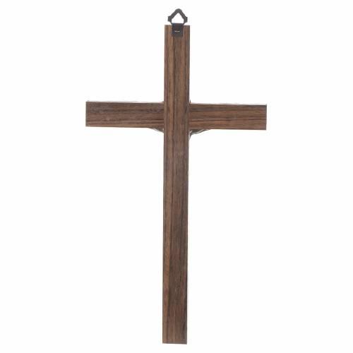 Croix bois Christ métal argenté 25 cm s2
