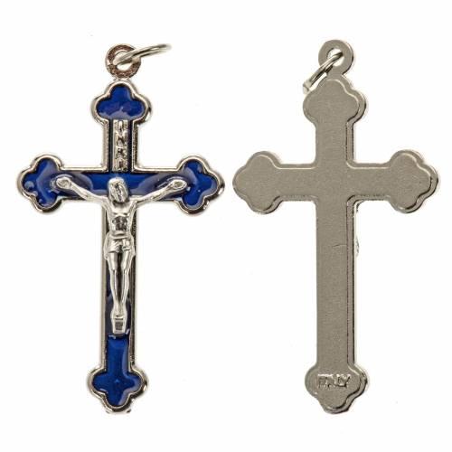 Croix chapelet métal émail bleu 3.6 cm s1