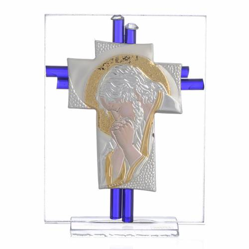 Croix Christ verre Murano belu et argent h 10,5 cm s1