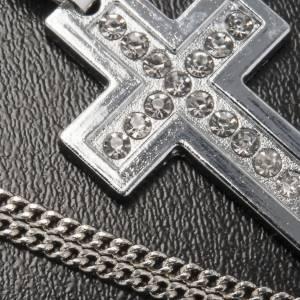Croix classique pendentif métal strass et chaîne s4