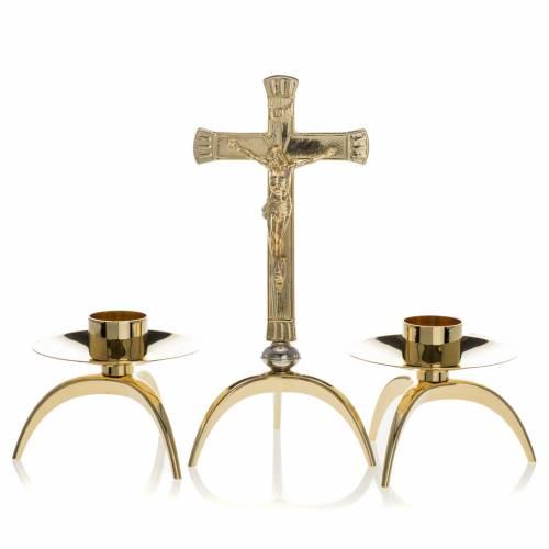 Croix d'autel et chandeliers laiton 3 pcs s1