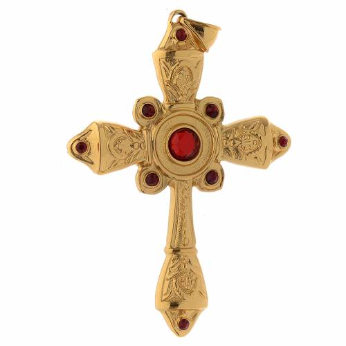 Croix évêque argent 925 doré et Swarovski rouges s2