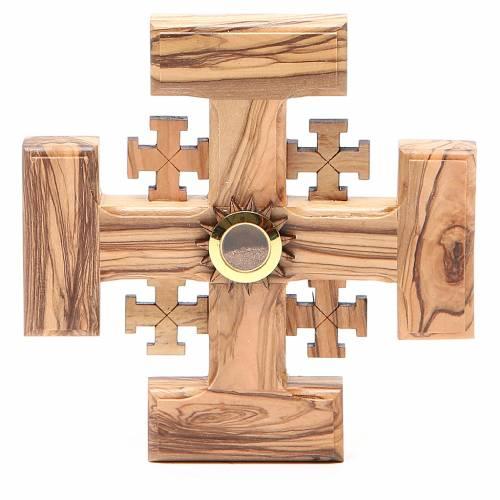 Croix Jérusalem bois d'olivier et terre de la Palestine 12,5 cm s1