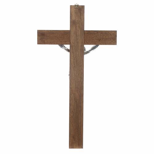 Croix noyer foncé Christ résine argent 65 cm s4