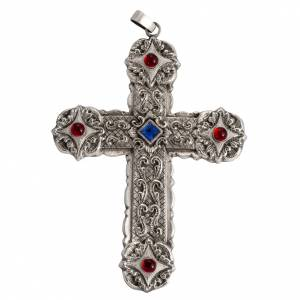 Croix pectorale style baroque cuivre argenté et pierres s1