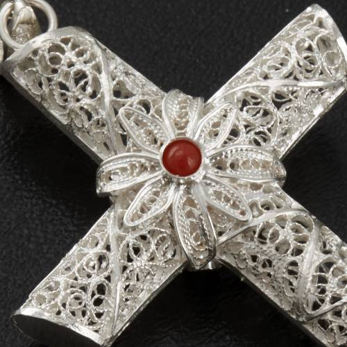 Croix pendentif corail filigrane argent 800 10,2 gr s4