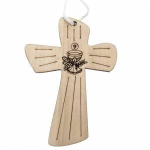 Aubes communion, profession de foi: Croix première communion bois calice hostie 9,8x7,2 cm