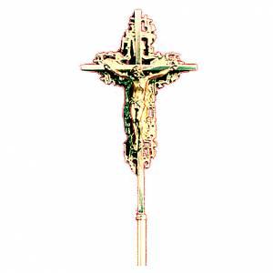 Croix procession 40x26 cm laiton moulé doré s1
