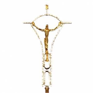 Croix procession laiton moulé bicolore 50x30 cm s1