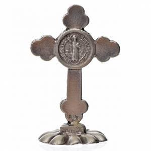 Croix trilobée Saint Benoît à poser 5x3,5 cm zamac émail blanc s2