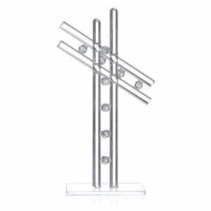 Croix verre Murano blanc h 16 cm s2