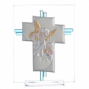 Bonbonnière: Cross Angels Murano aquamarine glass and silver 14,5cm