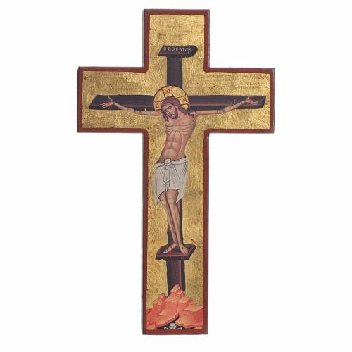 Cross-shaped icon with print on wood, Greece s1
