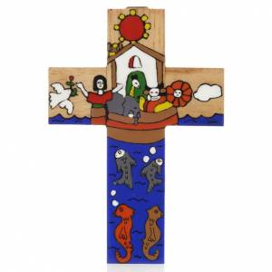 Cross with Noah's Ark in enamelled wood s1