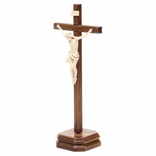 Crucifijo de mesa mod. Corpus madera Valgardena natural encerado s2