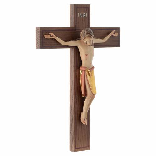 Crucifijo estilo románico 25 cm. madera Valgardena s3