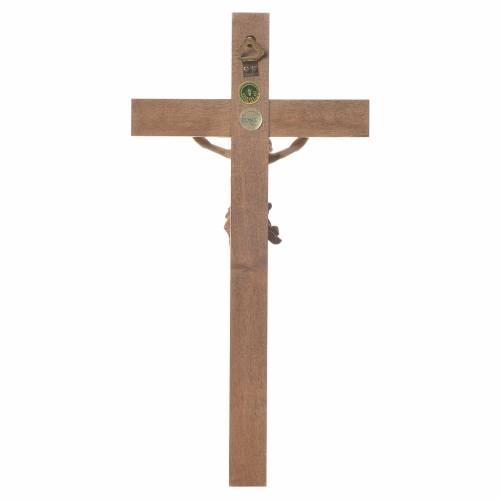 Crucifijo modelo Corpus, cruz recta madera Valgardena varias pat s3