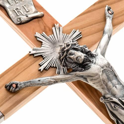 Crucifijo sacerdote plateado madera olivo 36x19 cm s2