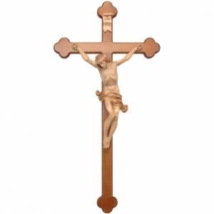Crucifijo trilobulado Corpus, madera Valgardena varias patinadur s1