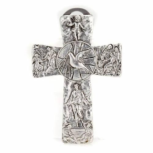 Crucifix argenté resurréction, ascension, saint es s1