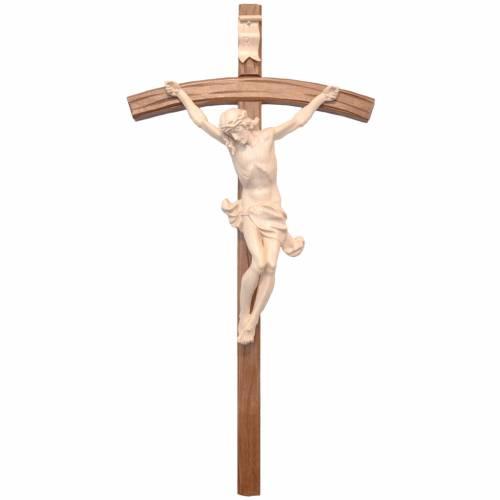 Crucifix bois ciré modèle Corpus, croix courbée s1