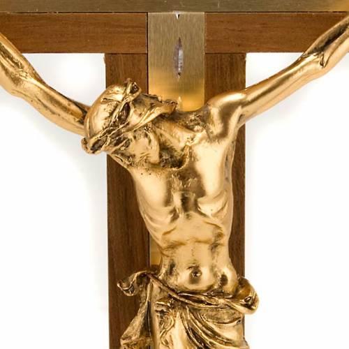 Crucifix bois clair de noix et alluminium corps métal dor s2