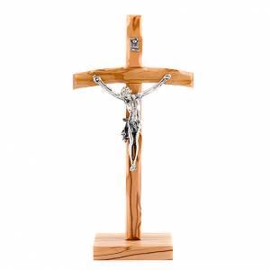 Crucifix à poser: Crucifix bois d'olivier croix courbée avec base