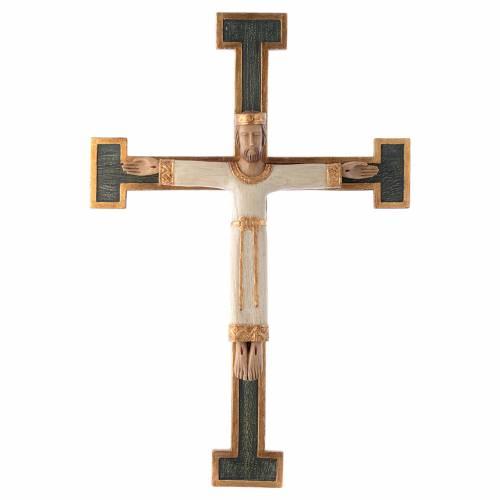 Crucifix Chist roi en blanc, croix verte en pierre s1