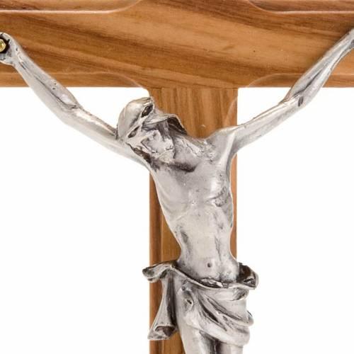 Crucifix de table doré en bois d'olivier et mé s3