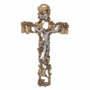 Crucifix doré argenté raisins 13 cm s1