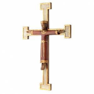 Crucifix en pierre Chist Roi en rouge croix blanche s2