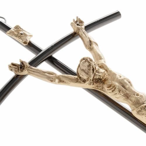 Crucifix foncé avec Corps du Christ doré 35 cm s3