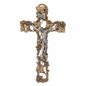Crucifix, golden and silver-coloured with grapes and branches 13 s1