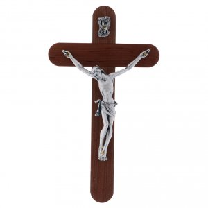 Wooden crucifixes: Crucifix in pear wood rounded 16 cm silver body