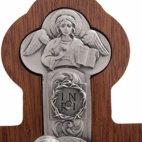 Crucifix métal argenté 4 évangélistes croix acajou s4