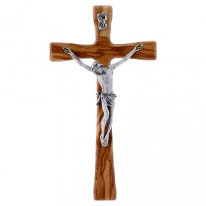 Wooden crucifixes: Crucifix modern in olive wood with silver body 20 cm