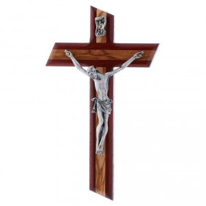 Wooden crucifixes: Crucifix modern in padouk wood and olive wood with silver body 16 cm