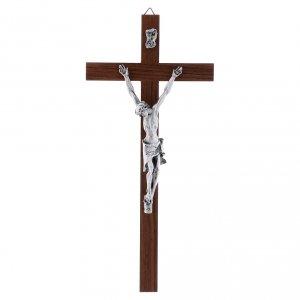 Wooden crucifixes: Crucifix modern in walnut metal body 25 cm