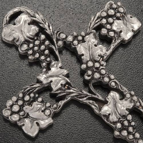Crucifix, silver-coloured with grapes and branches 13cm s2