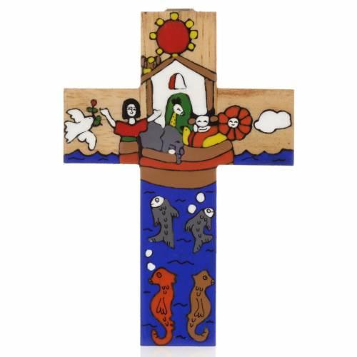 Cruz Arca de Noé madera esmaltada s1