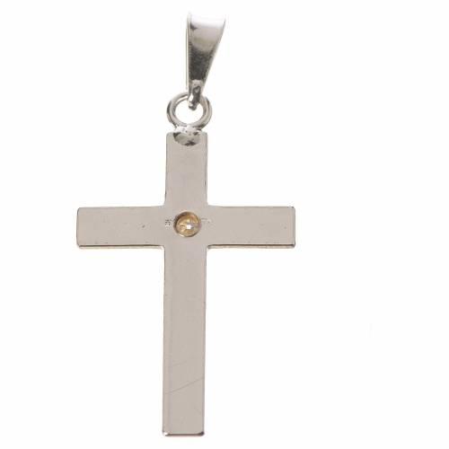 Cruz clásica de 2x3 plata y zircón s2