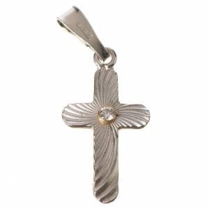 Colgantes, cruces y broches: Cruz de Plata y zircón ranurada 2x1,5cm