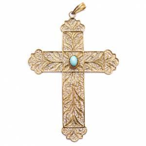 Artículos Obispales: Cruz Pectoral de filigrana  dorada, plata 800, turquesa