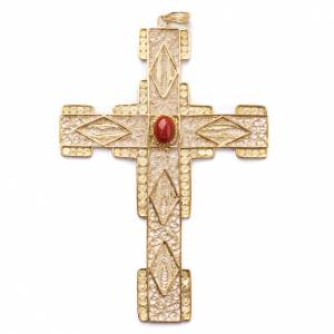 Artículos Obispales: Cruz Pectoral estilizada de filigrana de plata 800 dorado