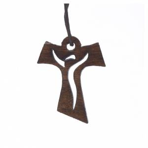 Vestidos comunión: Cruz Primera Comunión madera oscura Resucitado 3,4x2,4cm