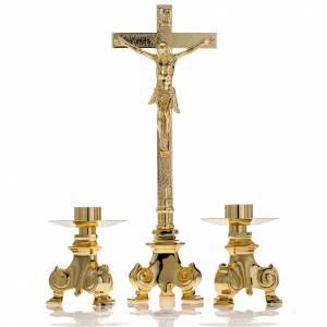 Cruces de altar con candeleros: Cruz y candelabros para altar 3pz