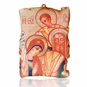 Cuadros, estampas y manuscritos iluminados: Cuadro madera forma pergamino Sagrada Familia