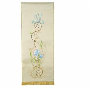 Cubre atril mariano shantung decorado letra MA y flores s1