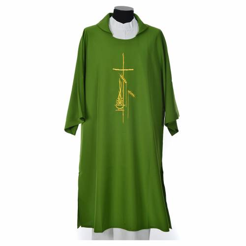 Dalmatic 100% polyester with cross, ear of wheat and flame s3