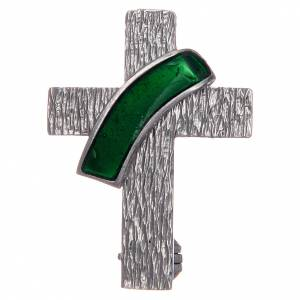 Pendants, crosses and pins: Deacon cross lapel pin in 925 silver and green enamel